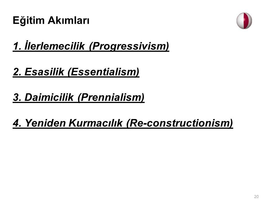 Eğitim Akımları 1. İlerlemecilik (Progressivism) 2