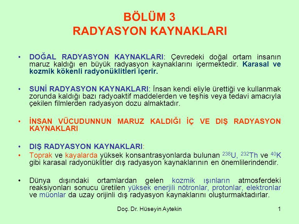 BÖLÜM 3 RADYASYON KAYNAKLARI