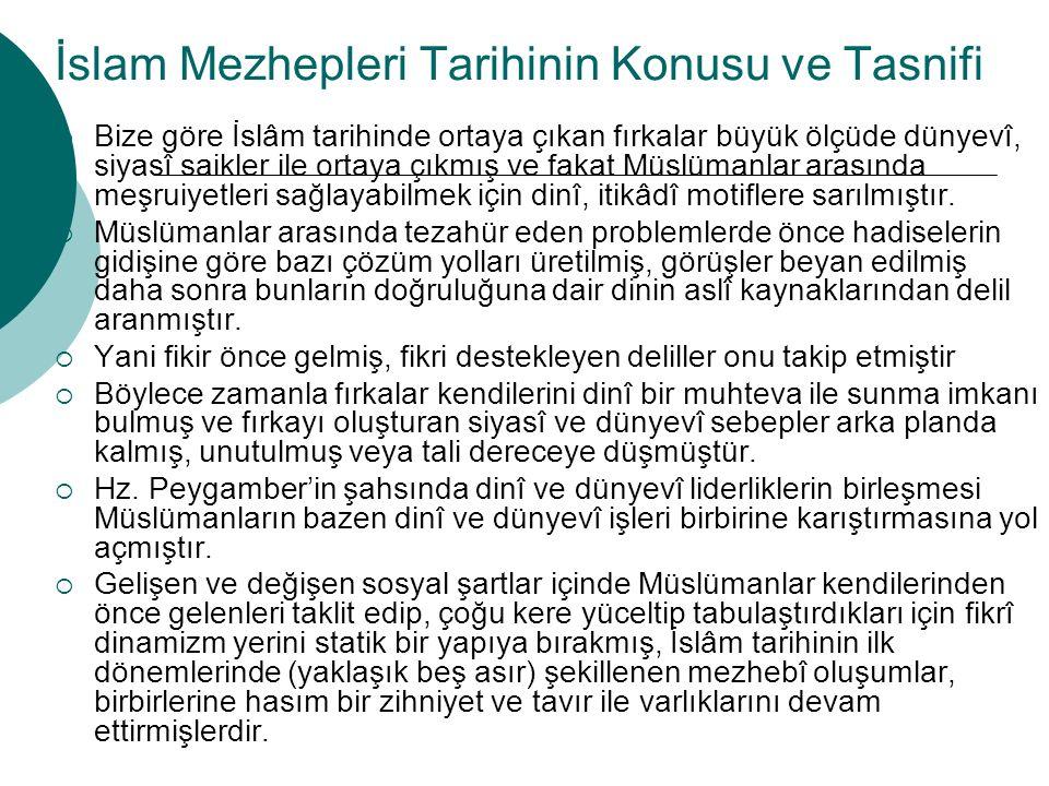 İslam Mezhepleri Tarihinin Konusu ve Tasnifi