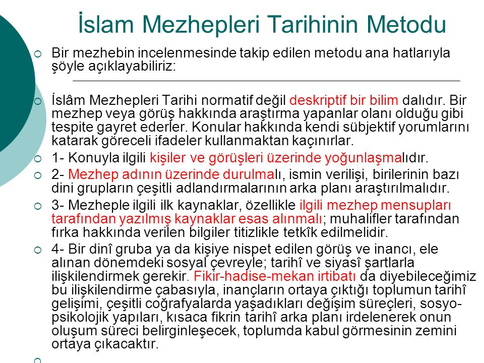 İslam Mezhepleri Tarihinin Metodu