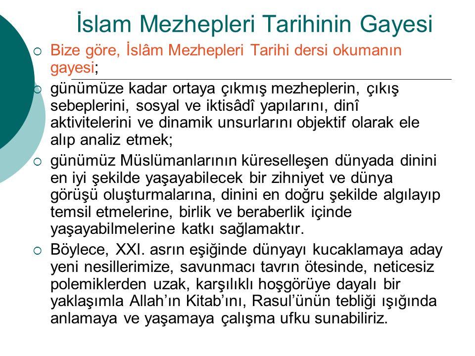 İslam Mezhepleri Tarihinin Gayesi