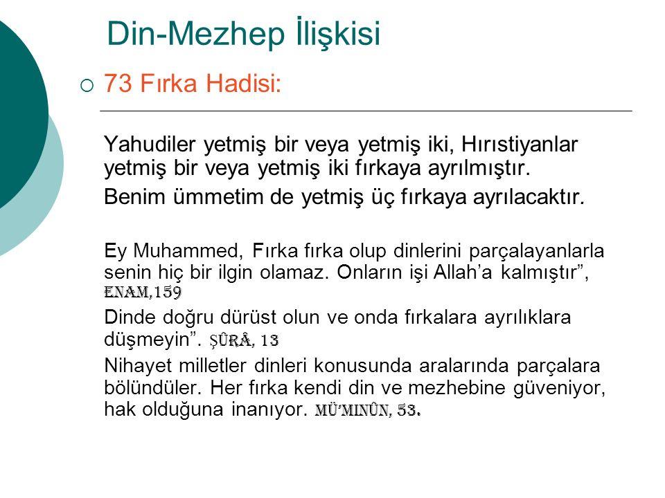 Din-Mezhep İlişkisi 73 Fırka Hadisi: