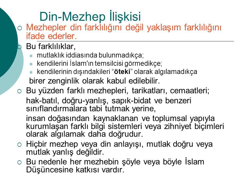 Din-Mezhep İlişkisi Mezhepler din farklılığını değil yaklaşım farklılığını ifade ederler. Bu farklılıklar,