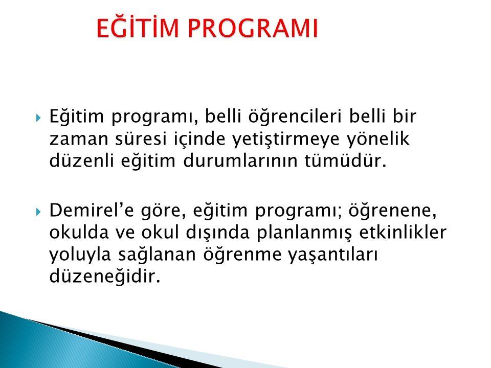 EĞİTİM PROGRAMI Eğitim programı, belli öğrencileri belli bir zaman süresi içinde yetiştirmeye yönelik düzenli eğitim durumlarının tümüdür.