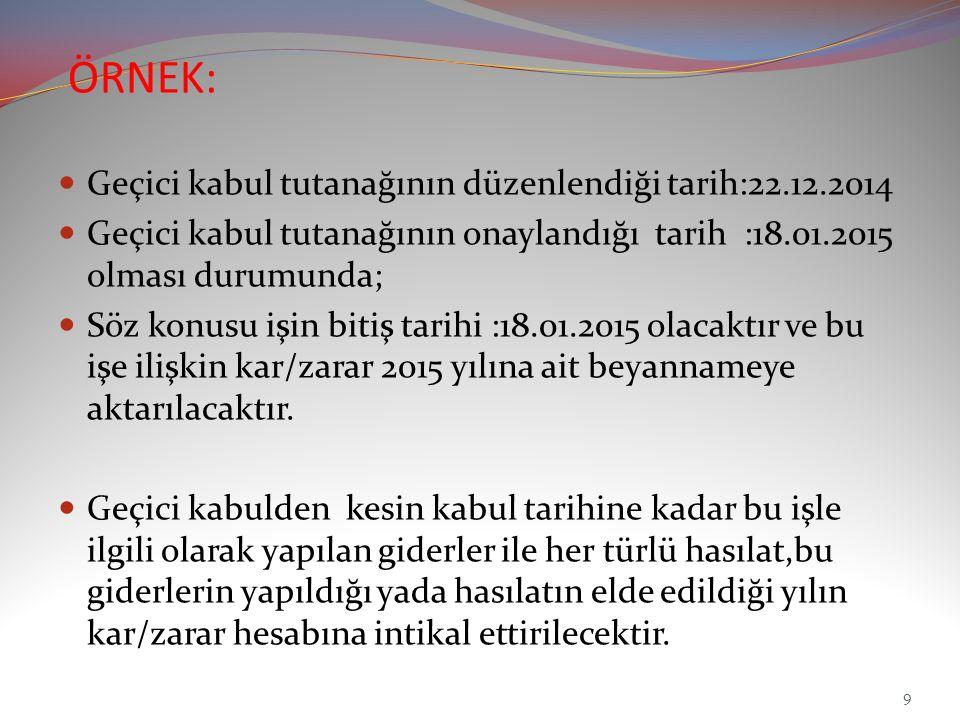 ÖRNEK: Geçici kabul tutanağının düzenlendiği tarih:22.12.2014