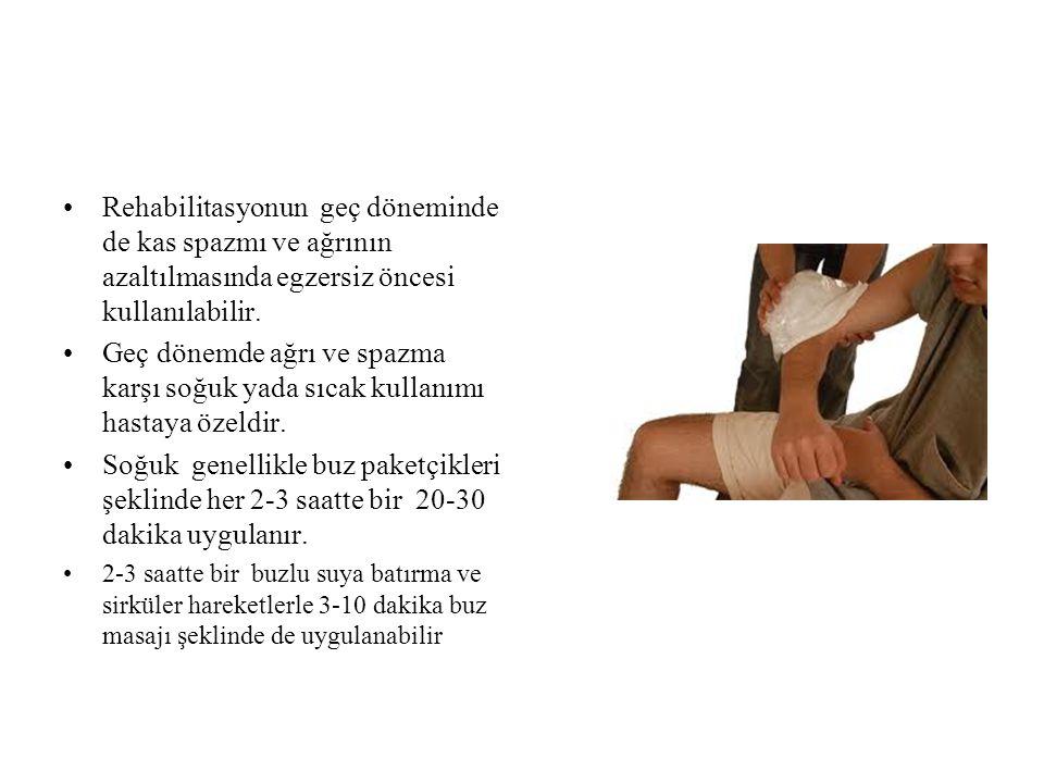 Rehabilitasyonun geç döneminde de kas spazmı ve ağrının azaltılmasında egzersiz öncesi kullanılabilir.