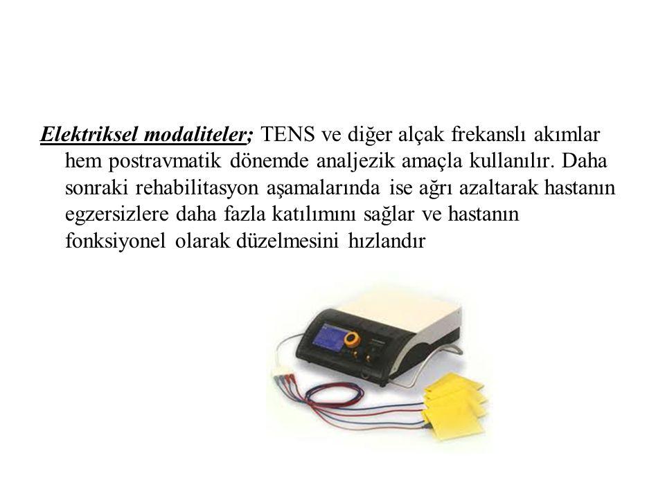 Elektriksel modaliteler; TENS ve diğer alçak frekanslı akımlar hem postravmatik dönemde analjezik amaçla kullanılır.