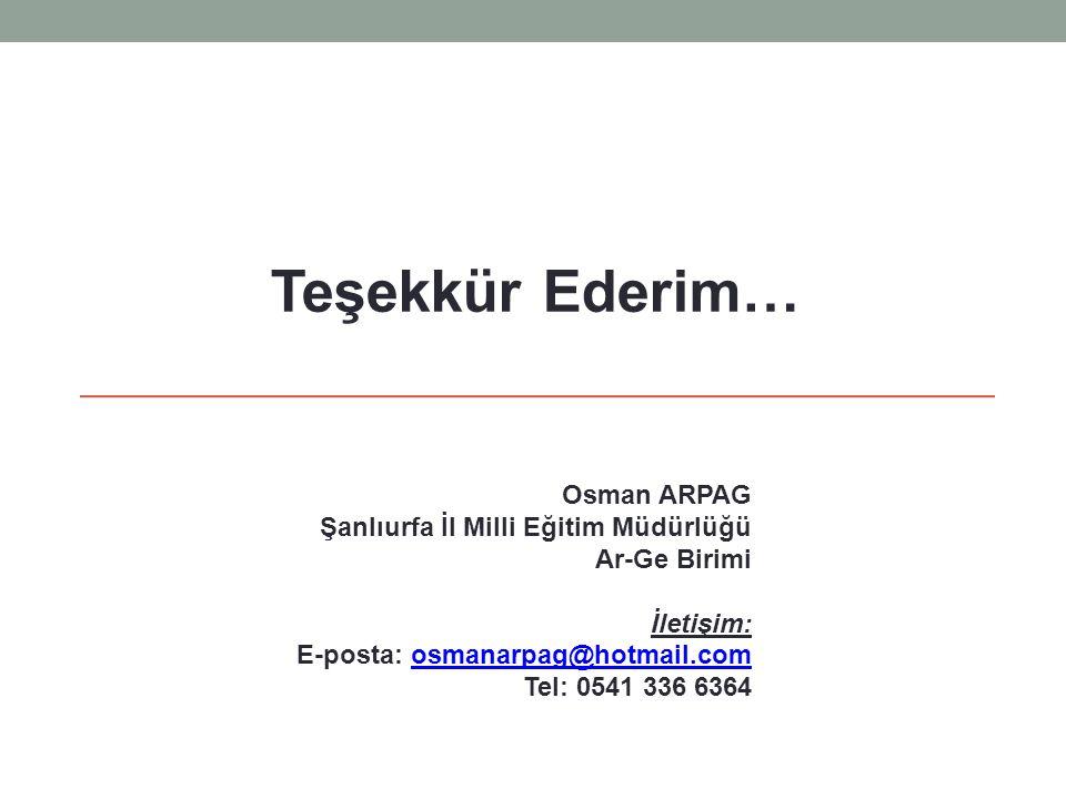 Teşekkür Ederim… Osman ARPAG Şanlıurfa İl Milli Eğitim Müdürlüğü