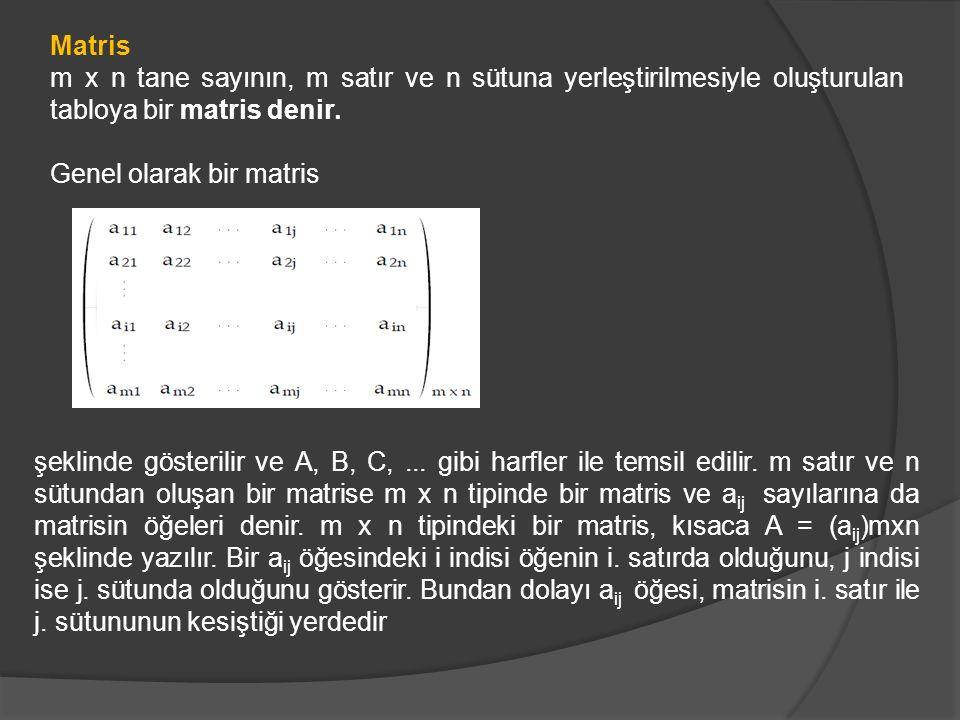 Matris m x n tane sayının, m satır ve n sütuna yerleştirilmesiyle oluşturulan tabloya bir matris denir.
