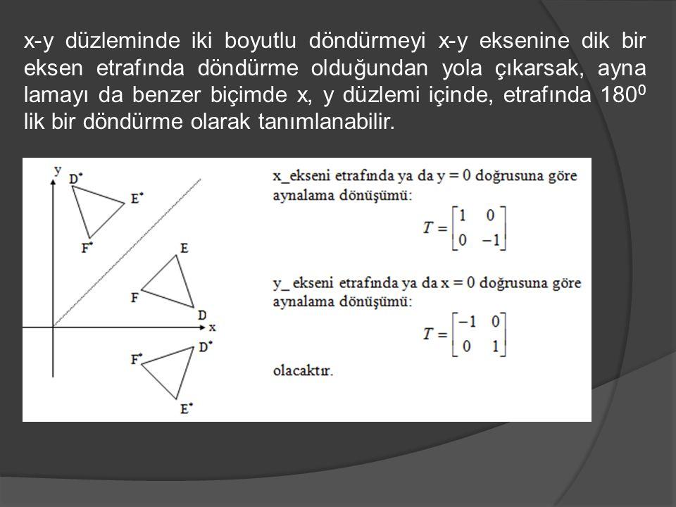 x-y düzleminde iki boyutlu döndürmeyi x-y eksenine dik bir eksen etrafında döndürme olduğundan yola çıkarsak, ayna lamayı da benzer biçimde x, y düzlemi içinde, etrafında 1800 lik bir döndürme olarak tanımlanabilir.