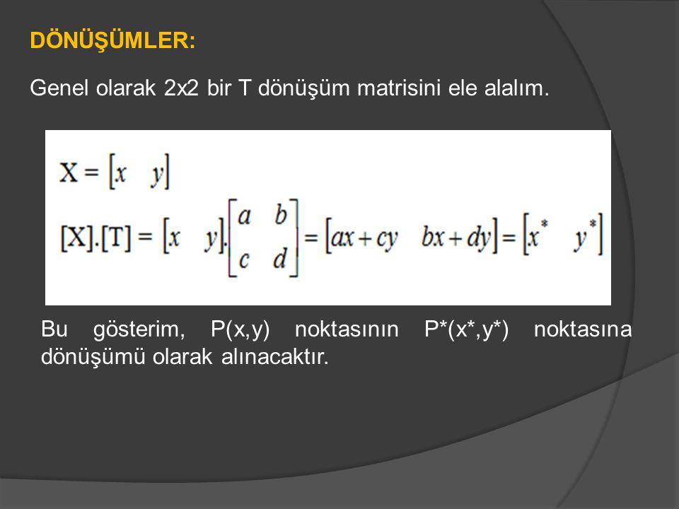 Genel olarak 2x2 bir T dönüşüm matrisini ele alalım.