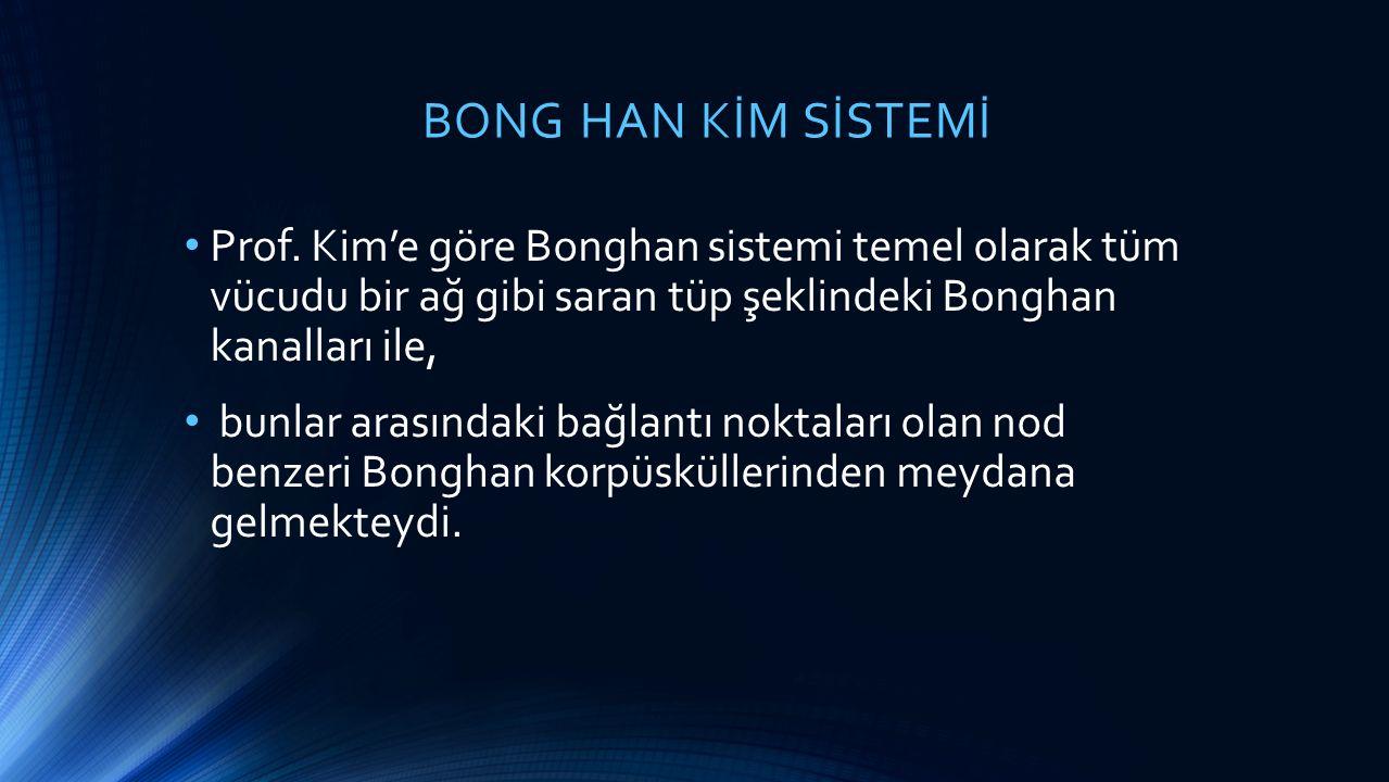 BONG HAN KİM SİSTEMİ Prof. Kim'e göre Bonghan sistemi temel olarak tüm vücudu bir ağ gibi saran tüp şeklindeki Bonghan kanalları ile,