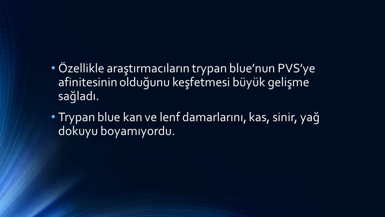 Özellikle araştırmacıların trypan blue'nun PVS'ye afinitesinin olduğunu keşfetmesi büyük gelişme sağladı.