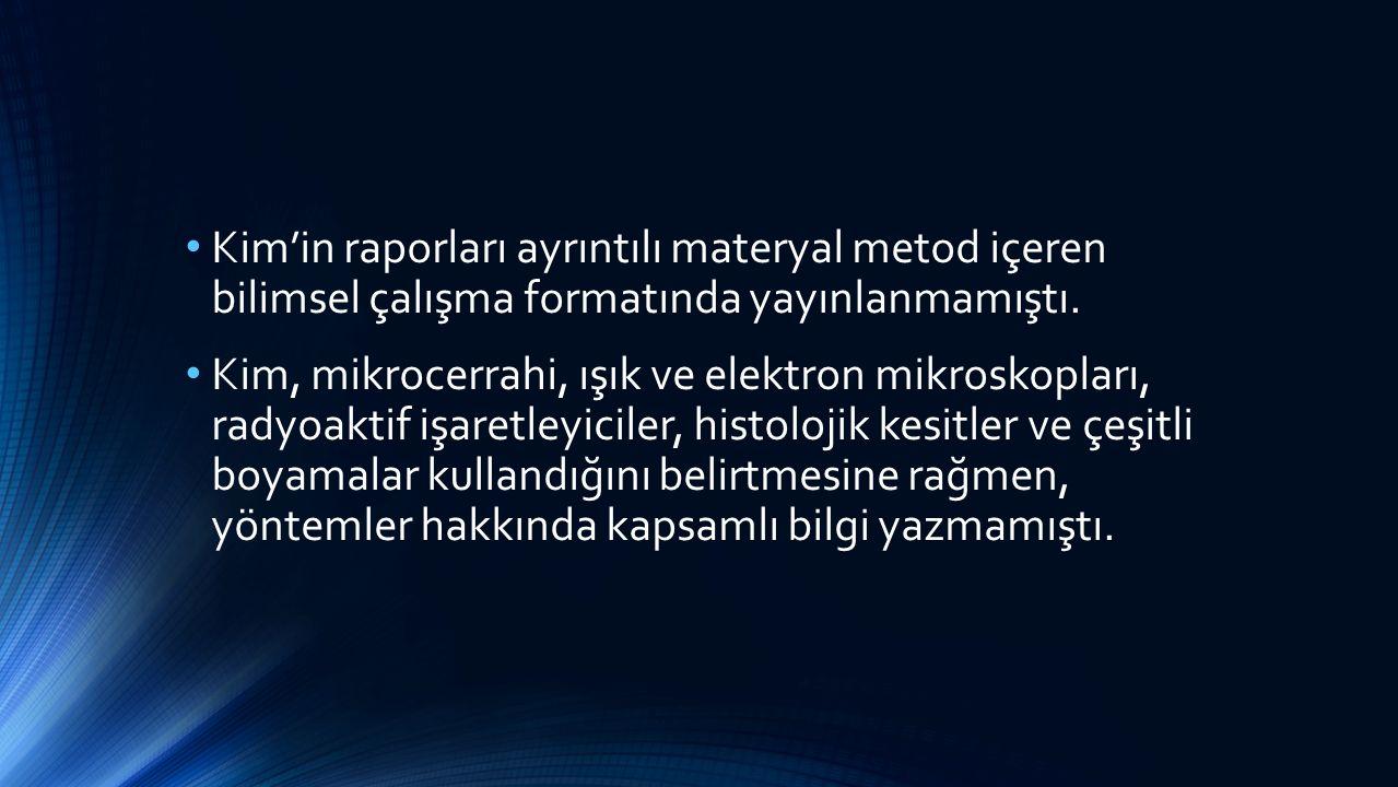 Kim'in raporları ayrıntılı materyal metod içeren bilimsel çalışma formatında yayınlanmamıştı.