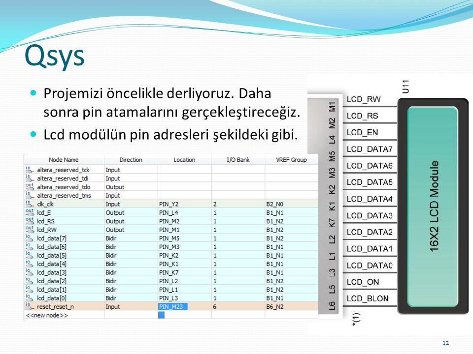 Qsys Projemizi öncelikle derliyoruz. Daha sonra pin atamalarını gerçekleştireceğiz.