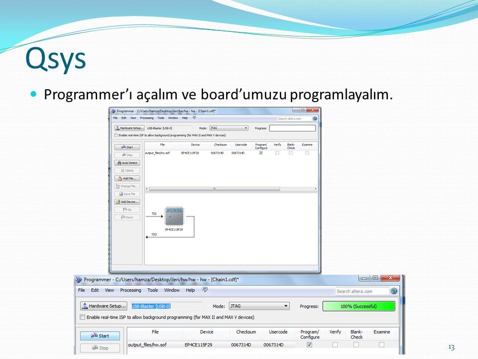 Qsys Programmer'ı açalım ve board'umuzu programlayalım.