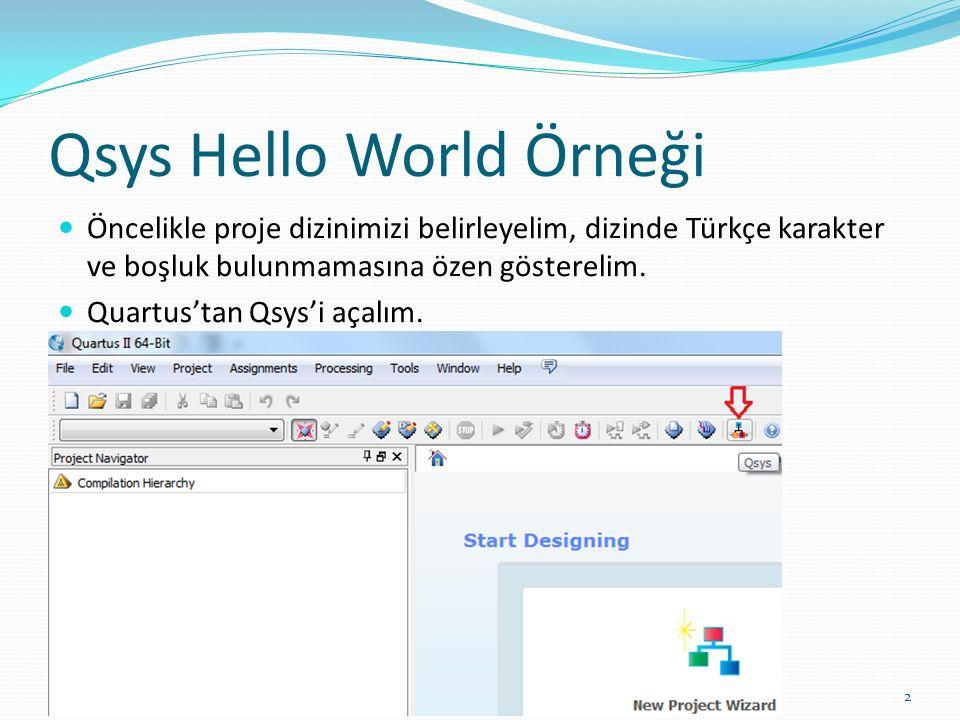 Qsys Hello World Örneği