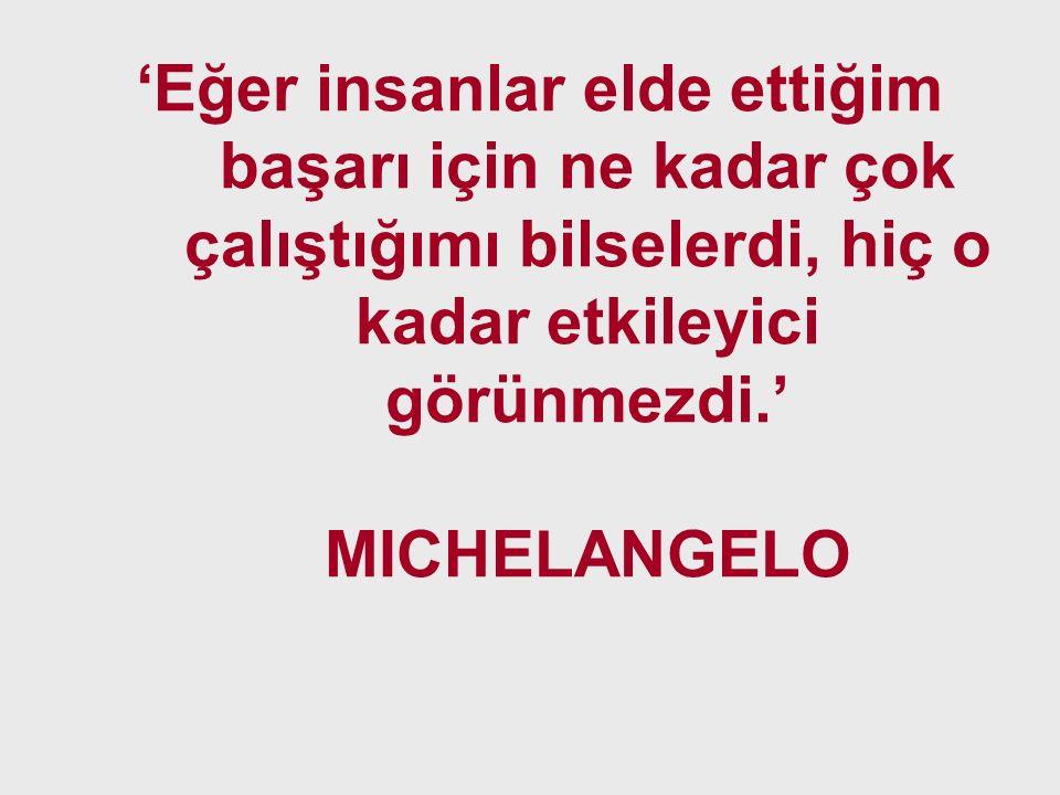 'Eğer insanlar elde ettiğim başarı için ne kadar çok çalıştığımı bilselerdi, hiç o kadar etkileyici görünmezdi.' MICHELANGELO