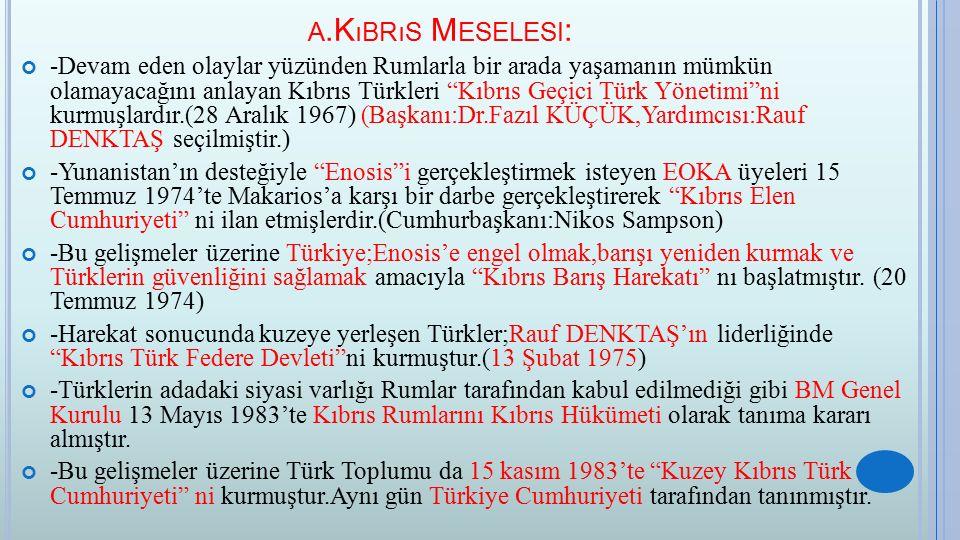 a.Kıbrıs Meselesi: