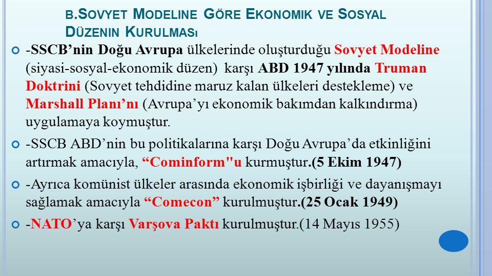 b.Sovyet Modeline Göre Ekonomik ve Sosyal Düzenin Kurulması