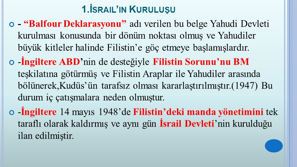 1.İsrail'in Kuruluşu