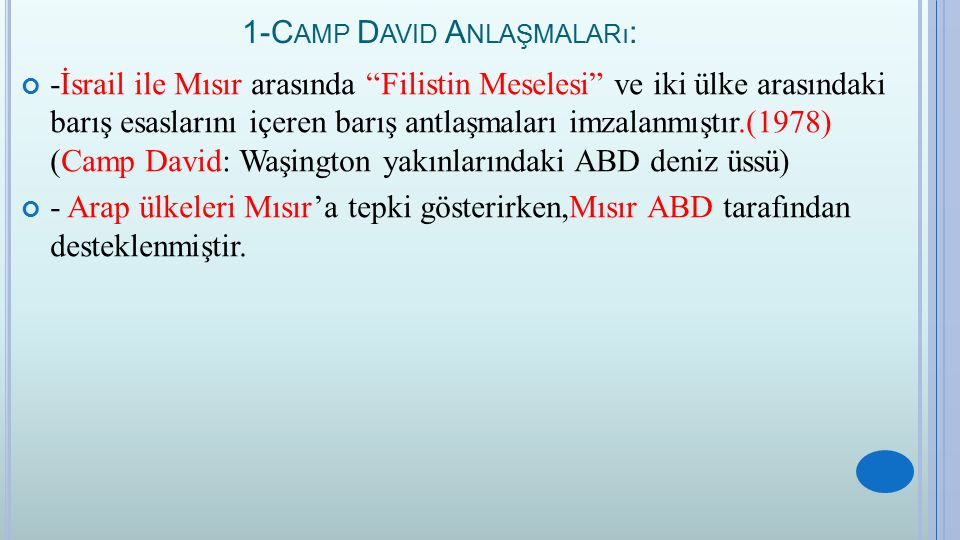 1-Camp David Anlaşmaları: