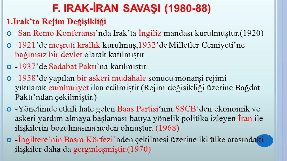 F. IRAK-İRAN SAVAŞI (1980-88) 1.Irak'ta Rejim Değişikliği