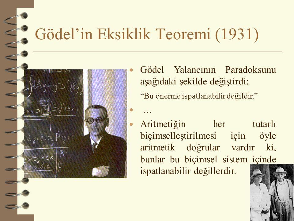 Gödel'in Eksiklik Teoremi (1931)