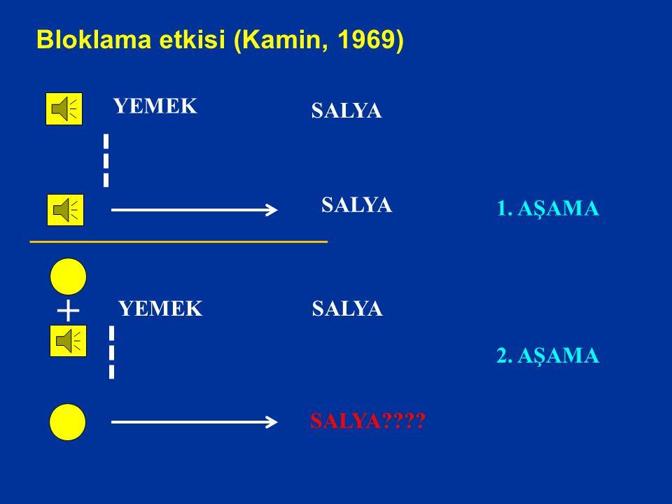 + Bloklama etkisi (Kamin, 1969) YEMEK SALYA SALYA 1. AŞAMA YEMEK SALYA