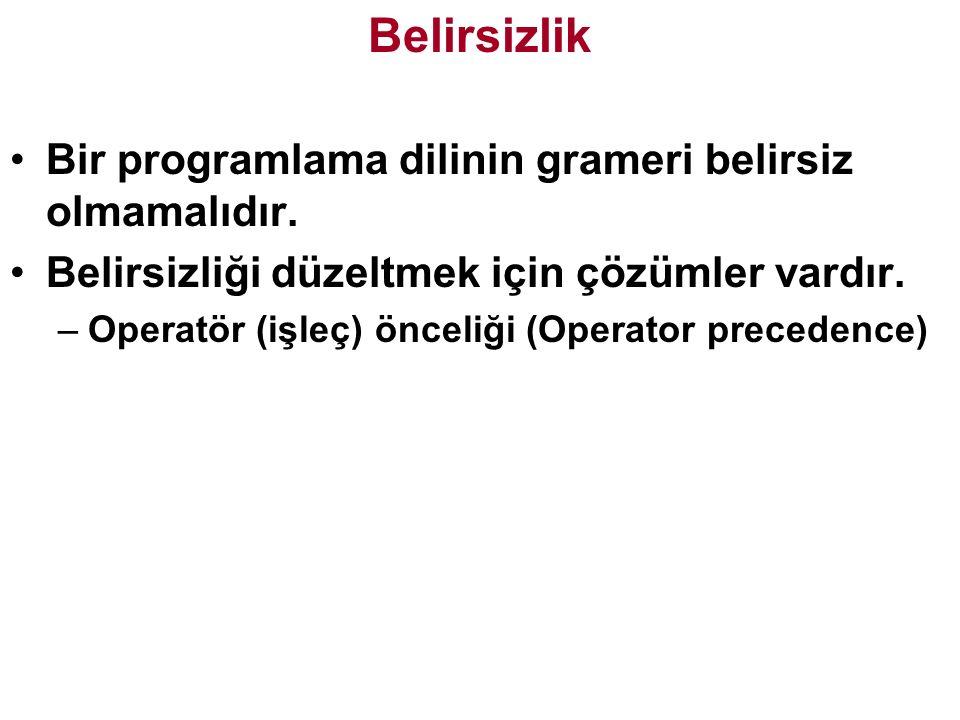 Belirsizlik Bir programlama dilinin grameri belirsiz olmamalıdır.