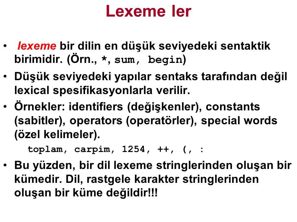 Lexeme ler lexeme bir dilin en düşük seviyedeki sentaktik birimidir. (Örn., *, sum, begin)