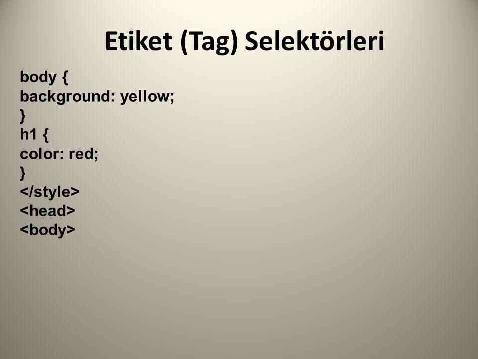 Etiket (Tag) Selektörleri