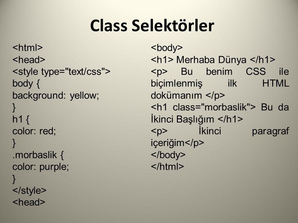 Class Selektörler <html> <body> <head>