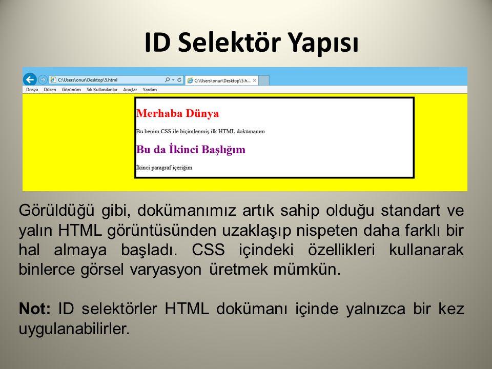 ID Selektör Yapısı