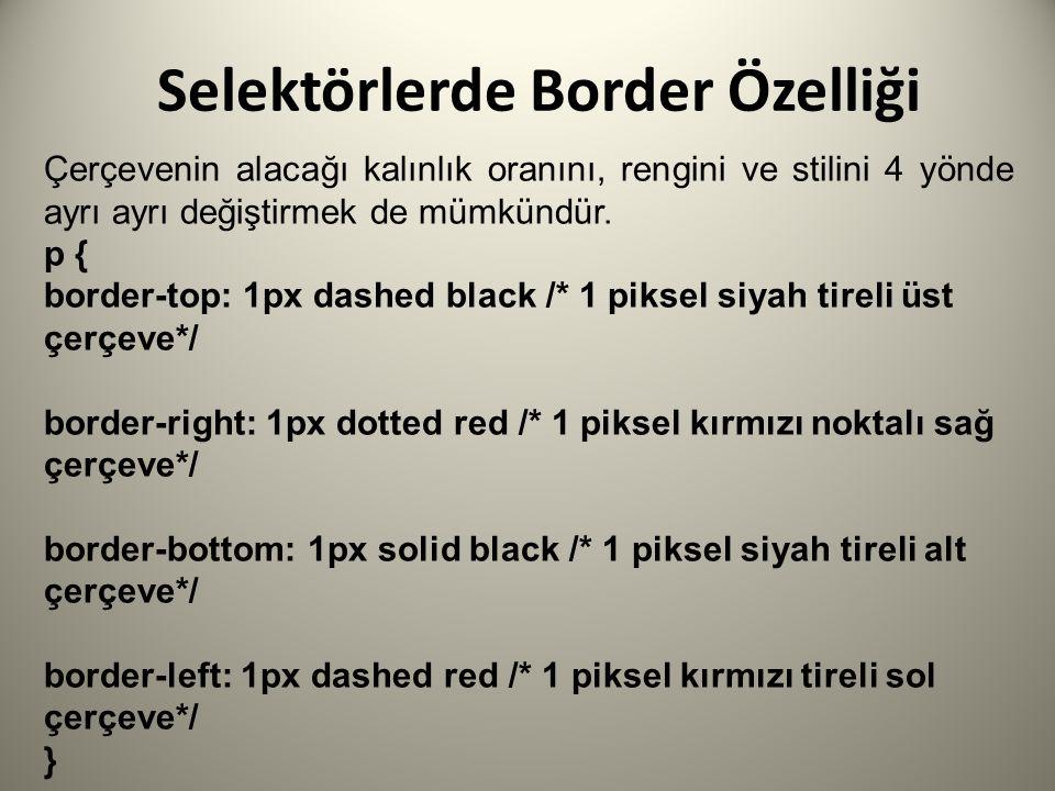Selektörlerde Border Özelliği