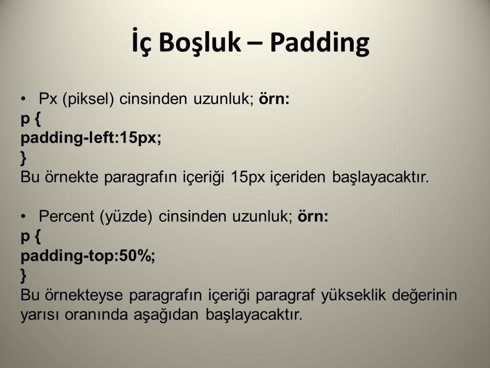 İç Boşluk – Padding Px (piksel) cinsinden uzunluk; örn: p {