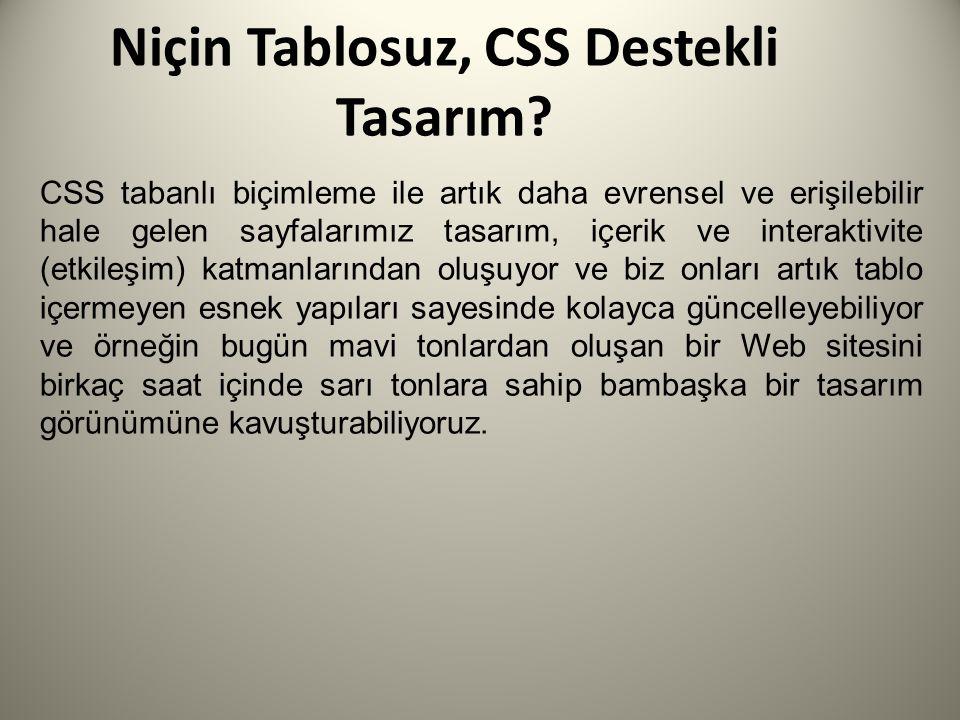 Niçin Tablosuz, CSS Destekli Tasarım