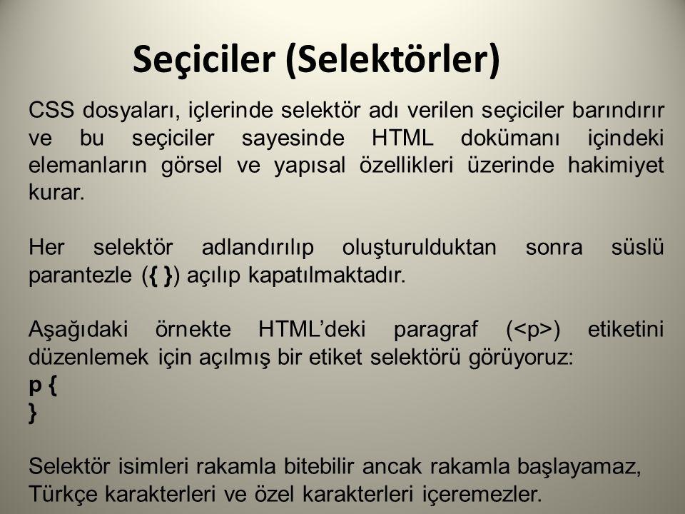 Seçiciler (Selektörler)