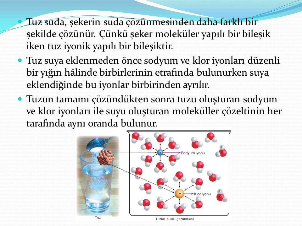 Tuz suda, şekerin suda çözünmesinden daha farklı bir şekilde çözünür