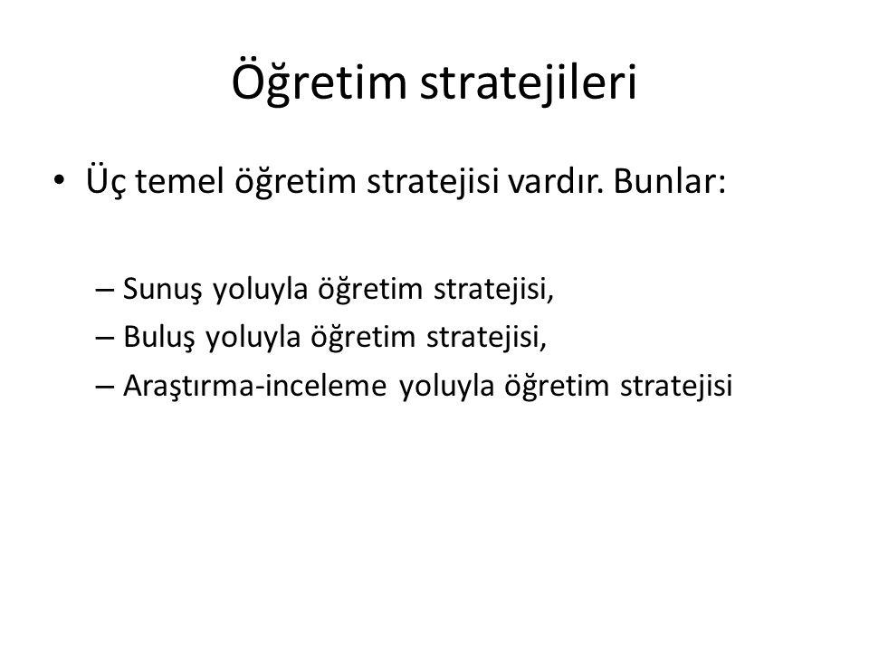Öğretim stratejileri Üç temel öğretim stratejisi vardır. Bunlar: