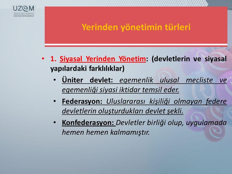 Yerinden yönetimin türleri