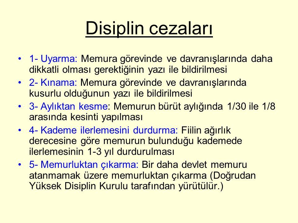 Disiplin cezaları 1- Uyarma: Memura görevinde ve davranışlarında daha dikkatli olması gerektiğinin yazı ile bildirilmesi.