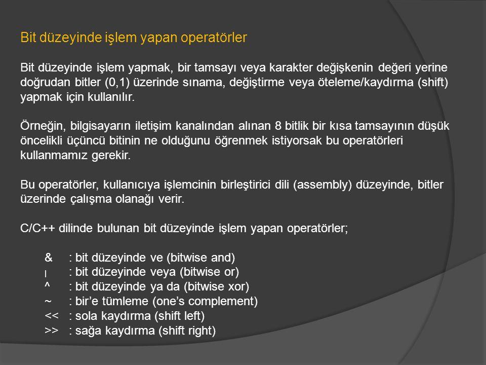 Bit düzeyinde işlem yapan operatörler
