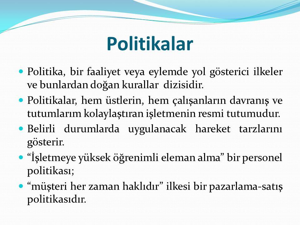 Politikalar Politika, bir faaliyet veya eylemde yol gösterici ilkeler ve bunlardan doğan kurallar dizisidir.