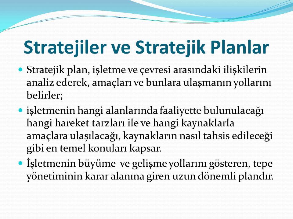 Stratejiler ve Stratejik Planlar