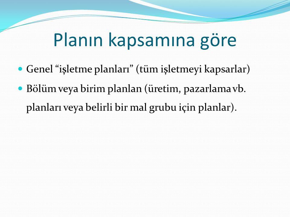 Planın kapsamına göre Genel işletme planları (tüm işletmeyi kapsarlar)