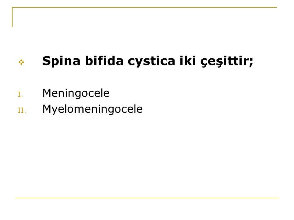 Spina bifida cystica iki çeşittir;