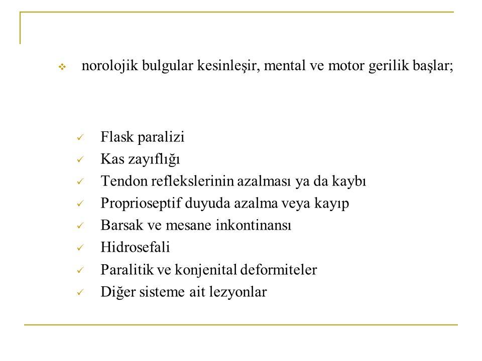 norolojik bulgular kesinleşir, mental ve motor gerilik başlar;