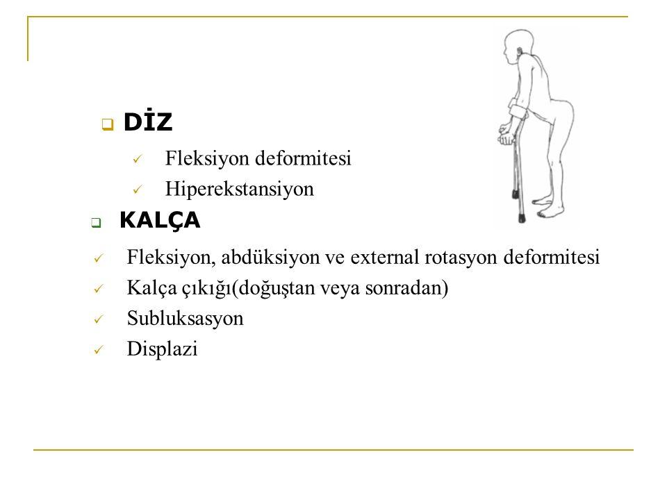 DİZ KALÇA Fleksiyon deformitesi Hiperekstansiyon