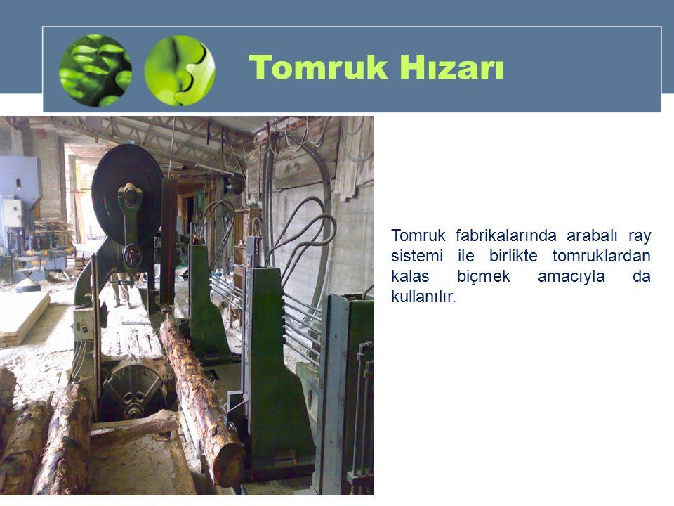 Tomruk Hızarı Tomruk fabrikalarında arabalı ray sistemi ile birlikte tomruklardan kalas biçmek amacıyla da kullanılır.